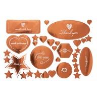 34 Sticker Aufkleber Herzen Sterne - Thank you - for you - uvm. Weihnachten Geschenkdeko roségold