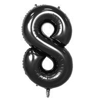1x Folien Luftballon mit Zahl 8 Kinder Geburtstag Jubiläum Party Deko Ballon schwarz
