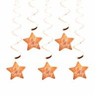 5 Girlande Spiral Wirbel Deckenhänger mit Oh Baby! Stern Baby Shower Deko Baby Party - rosé gold