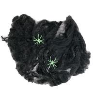 2x Spinnen + Spinnennetz Spinnweben Grusel Horror Tisch Deko Halloween Dekoration schwarz neon grün