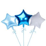 3er Set Stern Folien Luftballons Kinder Geburtstag Schuleinführung Party JGA Hochzeit blau weiß