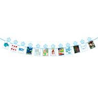 Monatsgirlande 12 Monate + Sterne Baby Girlande Babyshower Junge Geburtstag Geschenk - blau