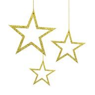 3 Holz Sterne mit Glitzereffekt + Schnur Weihnachtsdeko Weihnachtsbaum Anhänger Weihnachten - gold