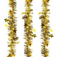 3x Folien Girlande mit Sternen für Weihnachten Silvester Geburtstag Party Feier Deko - gold