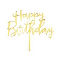 Torten Topper Kuchen Muffin Cupcake Aufsatz Happy Birthday Geburtstag Jubliäum Deko - gold