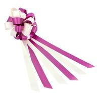 Geschenkschleife mit Geschenkband Groß Deko Schleifen - lila weiß