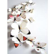 3D Schmetterlinge 12er Set Wandtattoo Wandsticker Wanddeko - weiß