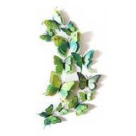3D Schmetterlinge 12er Set Wandtattoo Wandsticker Wanddeko - grün