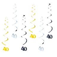 6 Spiral Wirbel Deckenhänger Girlanden 40. Geburtstag Jubiläum mit Bändern und Ösen - Farbmix