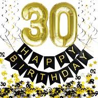 30. Geburtstag Party Deko Set - Girlande + Zahl 30 Ballons + Spiral Deckenhänger + Konfetti