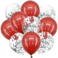 Konfetti Luftballon Set 10 Stk Geburtstag Party Hochzeit JGA Einschulung Deko rot silber