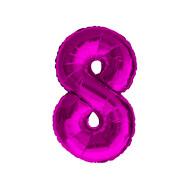 1x Folien Luftballon mit Zahl 8 Kinder Geburtstag Jubiläum Silvester Party Deko Ballon pink