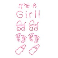 It's a Girl Strass Steine Sticker Geburt Baby Shower Taufe Deko - rosa