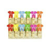 12 Mini Wäscheklammern Holz Miniklammern Deko Klammern - bunte Jacken