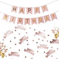 Geburtstag Party Deko Set - Happy Birthday Girlande + Konfetti Hängedeko Streudeko rosa-gold roségold