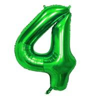 1x Folien Luftballon mit Zahl 4 Kinder Geburtstag Jubiläum Silvester Party Deko Ballon grün
