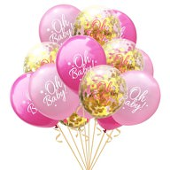 Konfetti Luftballon Set für Baby Shower Party Mädchen 15 Deko Ballons rosa gold