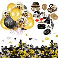 40. Geburtstag Party Feier Deko Set - Ballons + Fotorequisiten + Konfetti