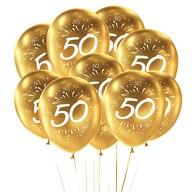 10x Luftballons Zahl 50 Geburtstag Jubiläum Goldene Hochzeit Party Ballons - gold