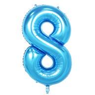 1x Folien Luftballon mit Zahl 8 Kinder Geburtstag Jubiläum Party Deko Ballon blau