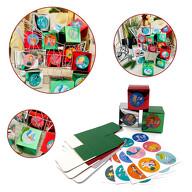 DIY Adventskalender Set - 24 Pappschachteln + 24 Zahlen Sticker Aufkleber mit Meerjungfrauen für Advent