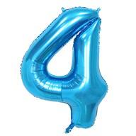 1x Folien Luftballon mit Zahl 4 Kinder Geburtstag Jubiläum Party Deko Ballon blau