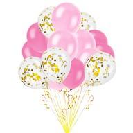 Konfetti Luftballon Set 15 Stk Hochzeit JGA Party rosa pink weiß