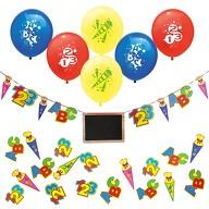 Schuleinführung Schulanfang Einschulung Deko Set - Luftballons + Girlande + Konfetti