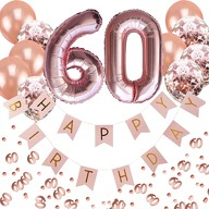 60. Geburtstag Party Deko Set - Girlande + Zahl 60 Ballons + Konfetti Luftballon Set + Konfetti
