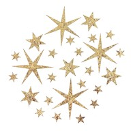 24 Sterne Sticker mit Pailletten Stern Aufkleber Glitzernd Weihnachtsdeko Deko Weihnachten - champagner