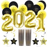 Happy New Year Silvester Neujahr Party Feier Deko Set 2021 - Luftballons Girlanden Trinkbecher