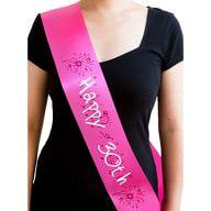 Schärpe 30 Geburtstag Happy 30th 30. Jubiläum Party Feier pink