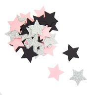 Papier Konfetti Sterne 36 Stk. Tischdeko Hochzeit JGA - rosa schwarz silber