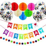 Happy Birthday Geburtstag Party Feier Deko Set - Girlanden Konfetti Ballons uvm