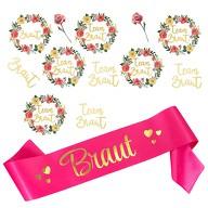JGA Hochzeit Accessoire Set - Braut Schärpe + Braut - Team Braut Tattoos pink gold