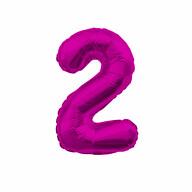 1x Folien Luftballon mit Zahl 2 Kinder Geburtstag Jubiläum Silvester Party Deko Ballon pink