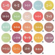 24 Adventskalender Sticker Zahlen Aufkleber mit Rechenaufgaben Weihnachten Basteln Weihnachtsdeko