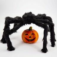 Riesige Spinne mit langen Beinen zum Erschrecken für Halloween Fasching Karneval Deko - schwarz