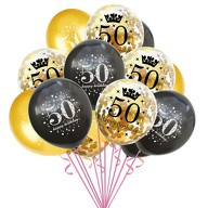 Konfetti Luftballon Set Zahl 50 Geburtstag Happy Birthday 15 Ballons