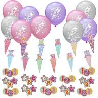Schuleinführung Schulanfang Einschulung Deko Set - Zuckertüte Girlande + Luftballons + Konfetti Set