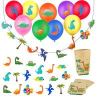 Dino Deko Set Kinder Geburtstag Jungs - Dinosaurier Ballons + Girlande + Geschenktüten + Konfetti