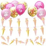 Schuleinführung Schulanfang Einschulung Deko Set - Zuckertüten Girlande + Luftballon Set + Konfetti