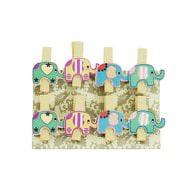 8 Mini Wäscheklammern Holz Miniklammern Deko Klammern - Elefanten