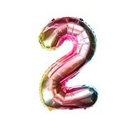 1x Folien Luftballon mit Zahl 2 Kinder Geburtstag Jubiläum Party Deko Ballon bunt
