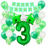 3. Geburtstag Party Deko Set - Happy Birthday Girlande + Zahl 3 Ballon + Konfetti Luftballons + Sterne