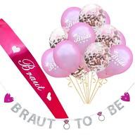 JGA Hochzeit Party Accessoire Set - Braut Schärpe Girlande Team Bride Konfetti Ballons