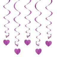 5 Girlande Spiral Deckenhänger mit Herz - lila
