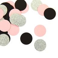 Papier Konfetti Kreise 36 Stk. Tischdeko Hochzeit Geburtstag JGA - rosa schwarz silber