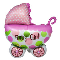 Folien Luftballon in Kinderwagen Form Baby Girl Folienballon für Baby Shower Party Geburt Mädchen