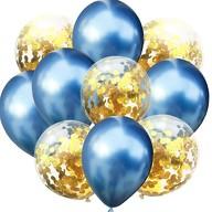 Konfetti Luftballon Set 10 Stk Geburtstag Party Hochzeit JGA Deko blau gold